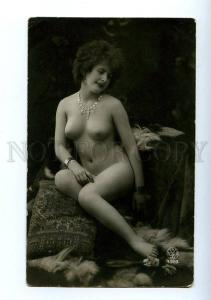 129036 NUDE Woman on Pillow Vintage PHOTO NOYER #4329 PC