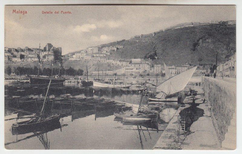 P1973 old postcard malaga detalle del puerto boats harbo buildings spain unused