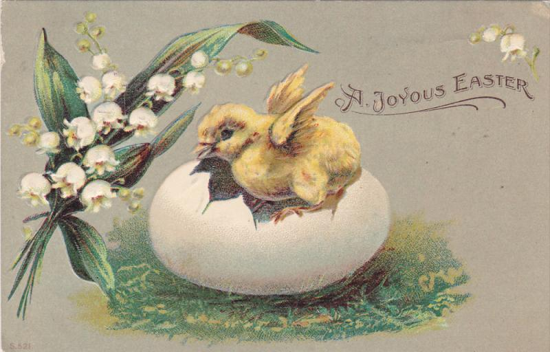 A Joyous Easter, Chick coming out of egg shell, Lily of the Pond, PU-1908
