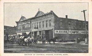 Harper Kansas Central Avenue Business Section Vintage Postcard JJ658787