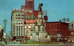 Michigan Detroit Woodward Avenue Looking North 1952