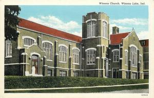 Winona Lake Indiana~Winona Church~Lady in White on Steps~1930s Linen Postcard
