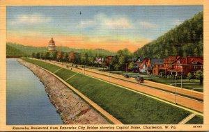 West Virginia Charleston Kanawha Boulevard From Kanawha City Bridge Showing C...