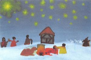 Mike SOS-Kinderdorf Schwarzwald Stars Winter Painting Postcard
