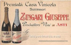 Advertising Postcard - Old Vintage Antique  Zingari Giuseppe, Barbera