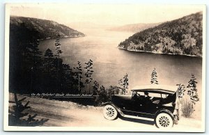 VTG Postcard Real Photo Expo RPPC Vancouver Island Lake View Old Car Road A5