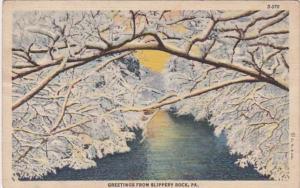 Pennsylvania Greetings From Slippery Rock 1945 Curteich
