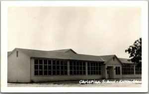 RIPON, California RPPC Photo Postcard Christian School Building View c1950s