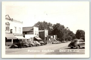 Ohio Illinois~Main Street~Royal Blue Grocery Store~Rexall~Philgas~1930 Cars~RPPC