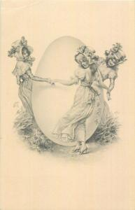 Lovely maidens Easter egg round dance fantasy postcard M. M. Vienne