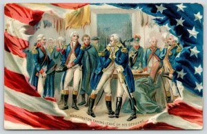 Patriotic~General George Washington Takes Leave Officers~Flag Border~Emboss~TUCK