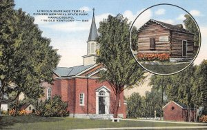 Lincoln Marriage Temple, Pioneer State Park, Harrodsburg, KY c1940s Postcard