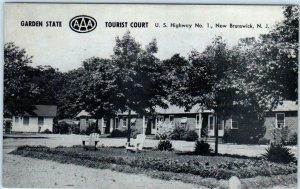 NEW BRUNSWICK, New Jersey NJ  Roadside GARDEN STATE TOURIST COURT 1960s Postcard