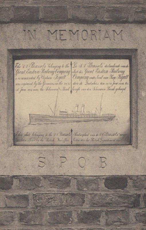 Bruges Plaque Memorial Military Ship Disaster Remebrance Antique Postcard
