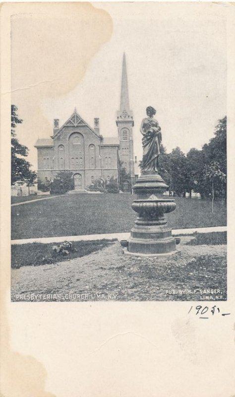 Presbyterian Church at Lima NY, New York and Fountain - UDB