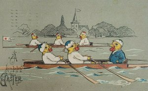 C. 1909 Embossed Dressed Chicks on Rowing Team Boats Red Star Line Flag