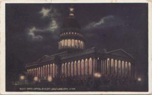 STATE CAPITOL AT NIGHT, SALT LAKE CITY, UTAH, 1937 used Postcard