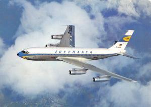 Vintage 1960s Postcard, Lufthansa Boeing 720B Jet Airliner, Aircraft 65A