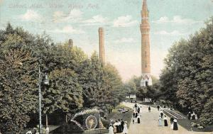 Detroit Michigan~Water Works Park~Tower~Victorians at Floral Clock~1908 Postcard
