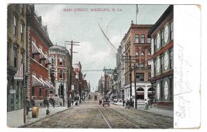 WV Wheeling West Virginia Main Street Flag cancel 1909 AC Bosselman UDB Postcard