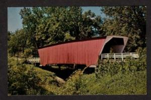 IA McBride Covered Bridge WINTERSET IOWA Postcard PC