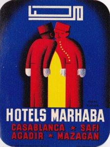 Morocco Casablanca Safi Agadir Mazagan Hotels Marhaba Vintage Luggage Label 0421