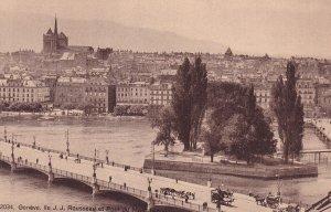 GENEVE, Switzerland, 1900-1910s; Ile J.J. Rousseau Et Pont Du Mont-Blanc