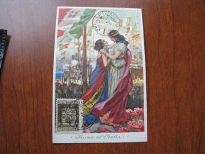 Fiume Italy Unification Annex March 1 1924 Postcard w/ postmarked stamp