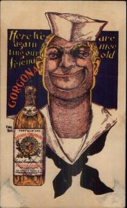 Navy Sailor & Gorgona Rum Liquor USS Argonne 1934 Ship Cancel Postcard