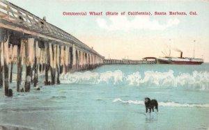 Commercial Wharf SANTA BARBARA, CA Beach Scene Pier c1910s Vintage Postcard