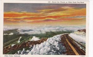 Colorado Pikes Peak Above The Clouds On Pikes Peak Cog Road