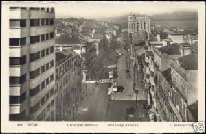 spain, VIGO, Calle José Antonio, TRAM (1950s) RPPC
