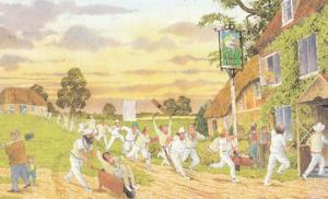 Cricketer Team Going To Ball Box Bawdy Pub Rowdy Drunk Cricket Comic Postcard