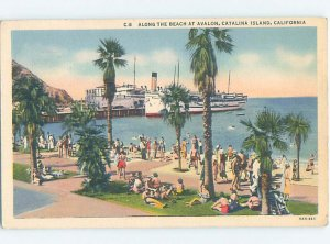 Linen BEACH SCENE Catalina Island - Los Angeles California CA AE9502