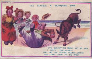 Wild Rodeo Throwing Man Into Beach Sand Comic Humour Old Postcard