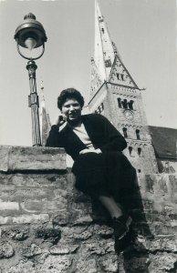 Postcard Women portrait glamour hats dress soacial history early 1956 tradition