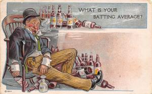 Comic Pun~What is Your Batting Average? Drunk Sleeps~Empty Whiskey Bottles~1908