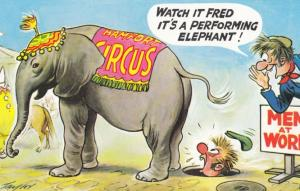 Circus Performing Elephant Soon Urinating on Men At Work Comic Humour Postcard