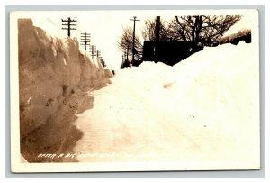 Vintage 1930's RPPC Postcard Massive Snow Scene Calumet Michigan