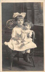 G80/ Interesting RPPC Postcard c1910 Cute Girl Pretty Doll Chair 12