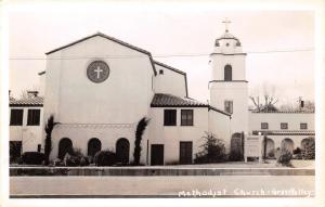 Grass Valley CA Methodist Church~Cross in Round Window~Spansih Revival~RPPC 1945