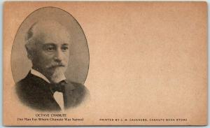 Chanute, Kansas Postcard OCTAVE CHANUTE Portrait - J.M. Cavaness c1900s UNUSED