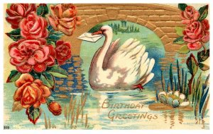 Birthday ,  Swan under bride , envelope  , pink flowers ,  embossed