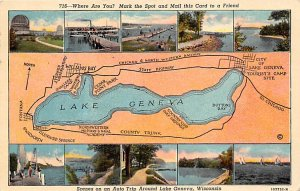 Maps Auto Trip Around Lake Geneva Wisconsin, USA 1953
