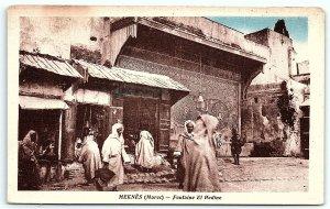 VTG Postcard Maroc Morocco Meknes Market Street View Building Ally Men A4