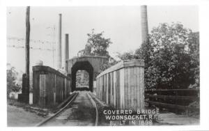 E31/ Woonsocket Rhode Island RI Real Photo RPPC Postcard Covered Bridge c1950s 1
