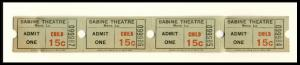 4 Sabine Movie Theatre Tickets, Many, Louisiana/LA, Child Admission, 1950's?