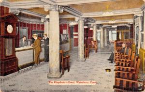 WATERBURY CONNECTICUT~KINGSBURY HOTEL LOBBY-POSTCARD 1910s