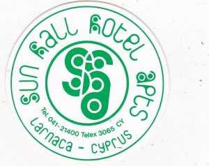 Cypruss Larnaca Sun Hall Hotel Apartments Vintage Luggage Label sk2793