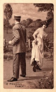 ?Vintage Postcard 1910 A Passing Fancy Beautiful Woman in Elegant Dress and Hat